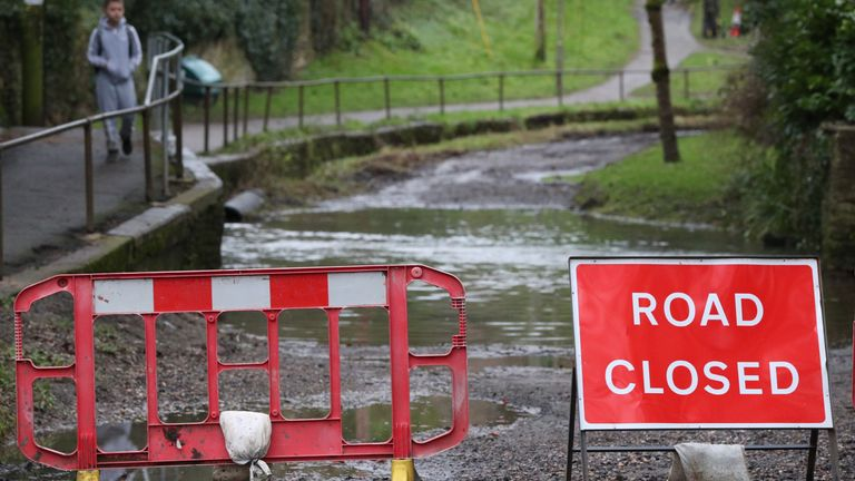 A road closed sign at a ford crossing near Middle Barton, Oxfordshire