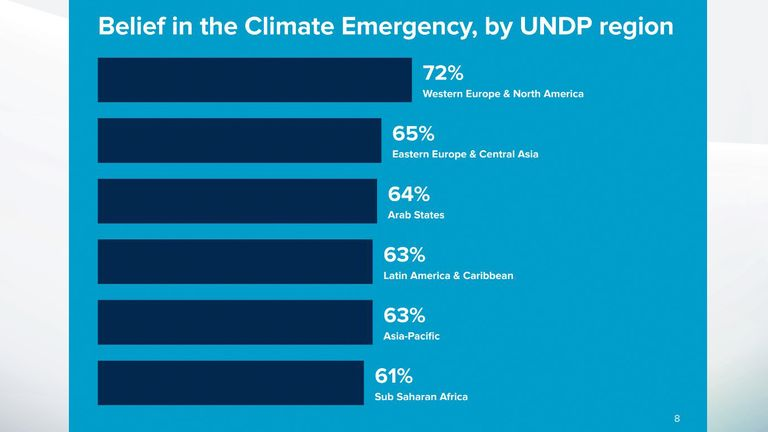 Belief in climate emergency by region. Pic: UNDP
