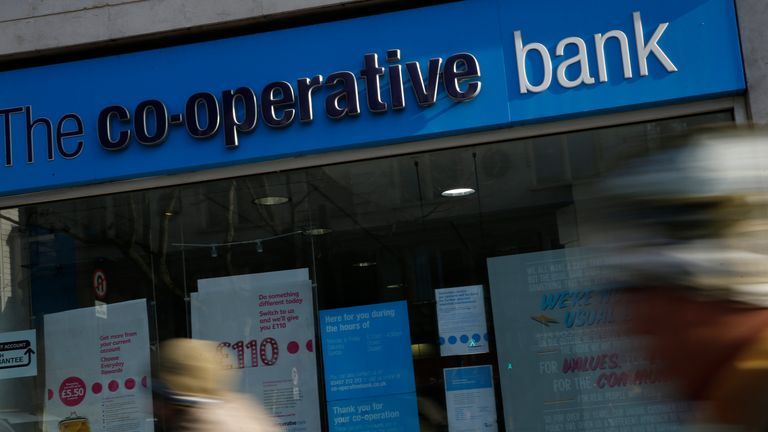 The Co-operative Bank in London, Monday, Feb. 13, 2017. Britain's Co-operative Bank is putting itself up for sale as it struggles to meet capital requirements designed to ensure financial institutions can survive hard times. (AP Photo/Alastair Grant)