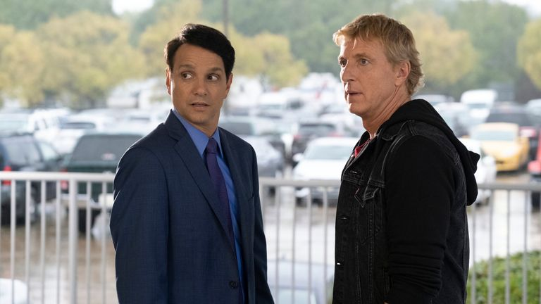 Ralph Macchio as Daniel Larusso and William Zabka as Johnny Lawrence in Cobra Kai. Pic: Curtis Bonds Baker/Netflix