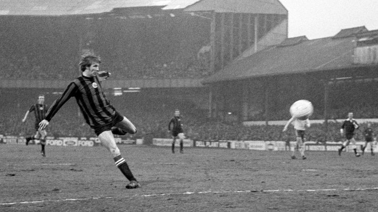 Colin Bell (left) scores his second goal in the fourth-round FA Cup tie at Stamford Bridge against Chelsea