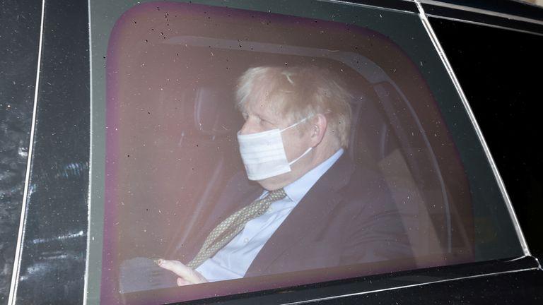 Britain's Prime Minister Boris Johnson leaves BBC Broadcasting House, in London