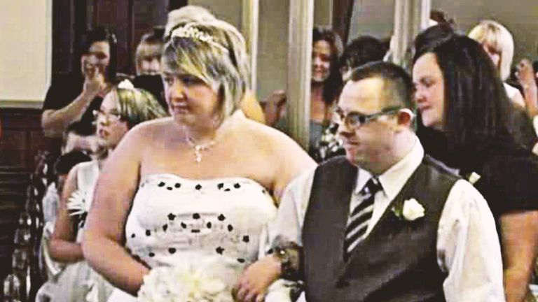 Debbie Mountjoy was walked down the aisle on her wedding day by her brother Darren. Pic: Debbie Mountjoy