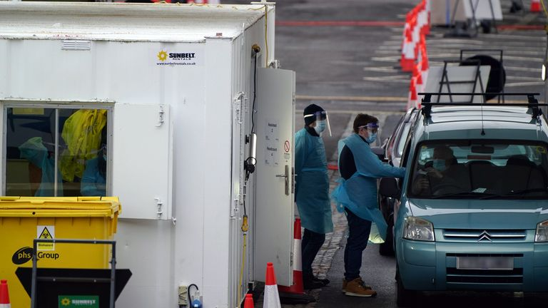 Covid Testing site in the car park of County Hall, West Bridgford, Nottingham, during England's third national lockdown to curb the spread of coronavirus. Picture date: Monday January 18, 2021.
