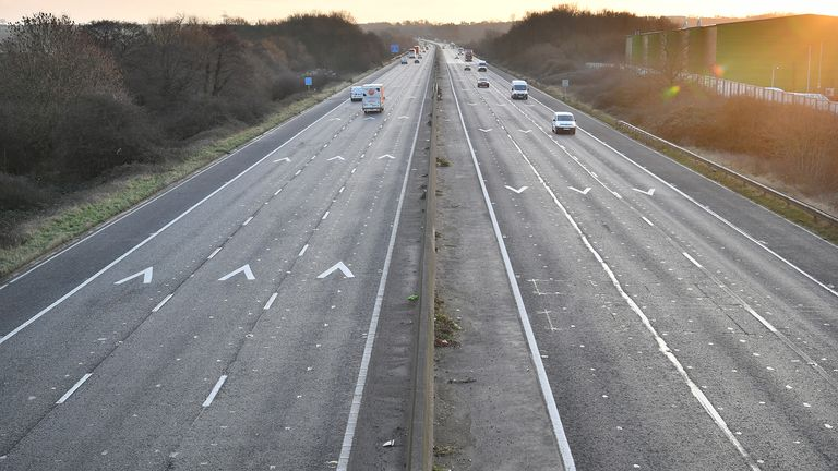 Traffic travels between junctions 18 and 19 of the M4 motorway near Bristol at 8.42am the morning after Prime Minister Boris Johnson set out further measures as part of a lockdown in England in a bid to halt the spread of coronavirus.