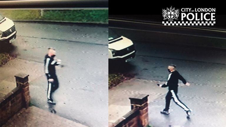 Handout CCTV image dated 07/01/21 taken issued by City of London Police of a fraudster claiming to work for the NHS, who jabbed a 92-year-old woman with a fake Covid-19 vaccine