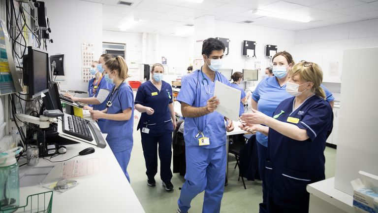 Medical staff in PPE at the Royal Alexandra Hospital in Paisley, Scotland