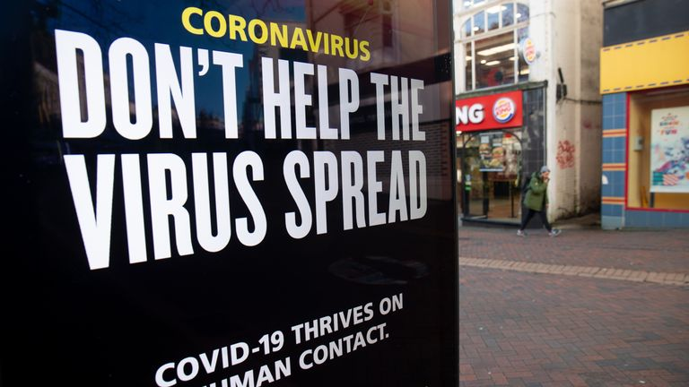 A 'Don't help the virus spread' government coronavirus sign on Commercial road in Bournemouth, during England's third national lockdown to curb the spread of coronavirus. Picture date: Friday January 22, 2021.