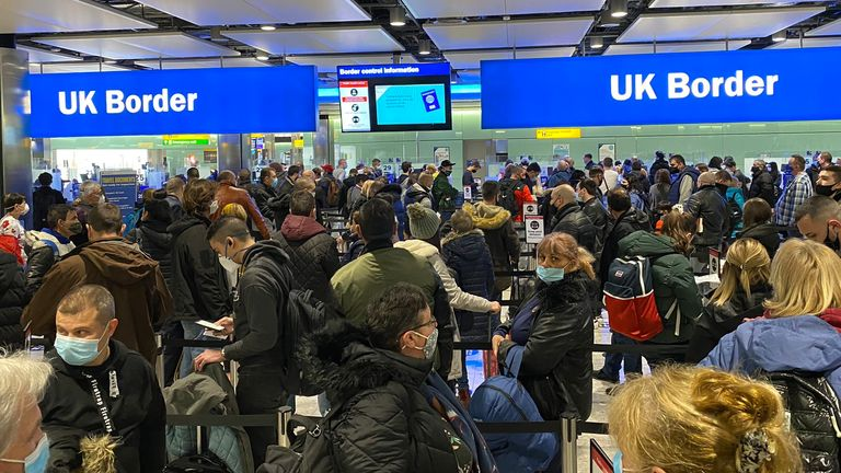 Lines at Heathrow Terminal 2 on Friday January 22. Pic: Peter Westmacott Twitter