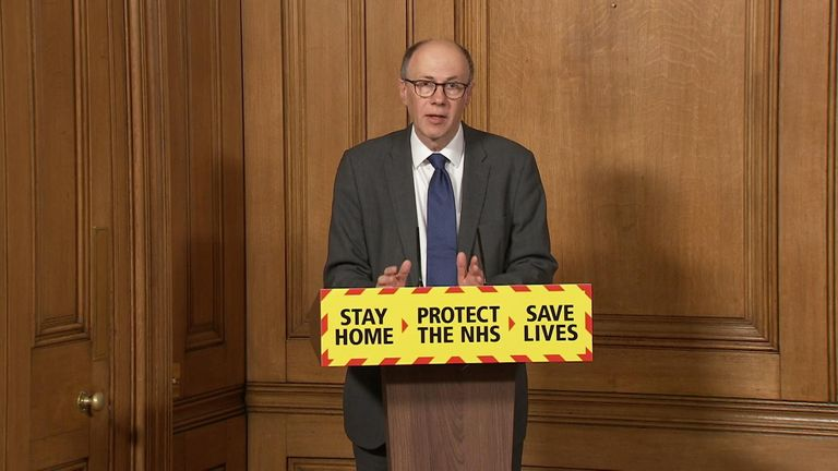 Professor Stephen Powis, NHS National Medical Director, speaks during the government COVID-19 Downing St press conference