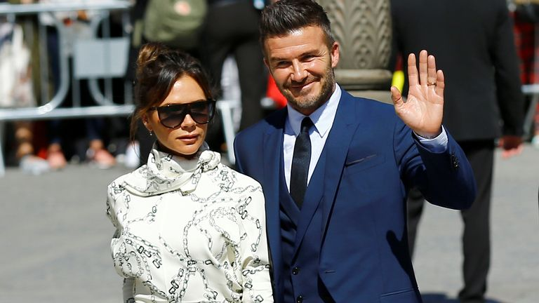 David Beckham and his wife Victoria attend the wedding of Real Madrid captain Sergio Ramos and Pilar Rubio at the cathedral in Seville, Spain June 15, 2019. REUTERS/Marcelo del Pozo