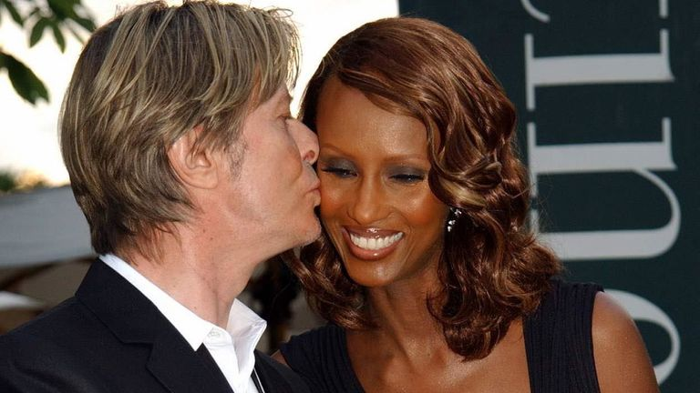 David Bowie and Iman arriving for the Serpentine Gallery Summer Party in Hyde Park. The annual fund-raiser is being held on the gallery's lawn in a glass and steel pavilion designed by Japanese architect Toyo Ito and Arup.