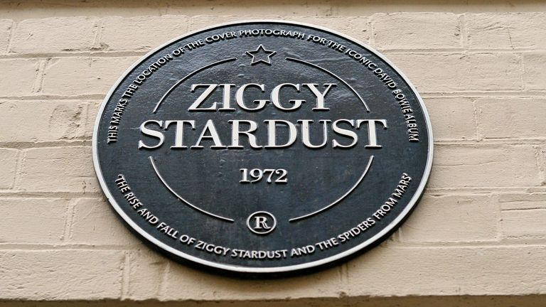 A commemorative plaque to David Bowie's iconic creation, Ziggy Stardust, in Heddon Street, London, marking the 40th anniversary of the album, The Rise and Fall of Ziggy Stardust and The Spiders from Mars, after the rock star died following an 18-month battle with cancer. PRESS ASSOCIATION Photo. Picture date: Monday January 11, 2016. See PA story DEATH Bowie. Photo credit should read: Dominic Lipinski/PA Wire