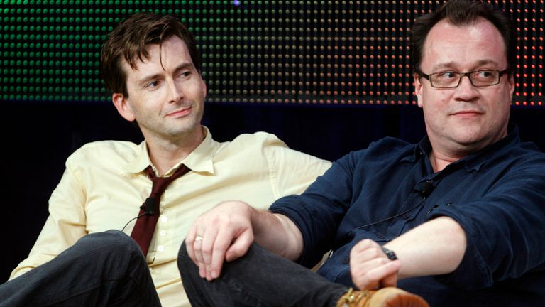 "Actor David Tennant, star of the BBC America network drama series ""Doctor Who"" (L) and lead writer and executive producer of the series, Russell T. Davies, take part in a discussion on the series at the Television Critics Association Cable summer press tour in Pasadena, California July 29, 2009"