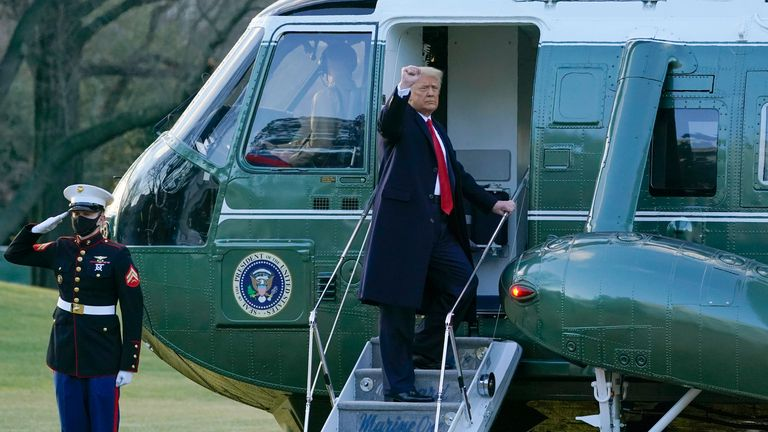 President Donald Trump gestures as he boards Marine One on the South Lawn of the White House. Pic: AP