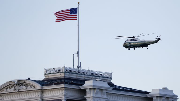 U.S. President Donald Trump departs the White House aboard Marine One ahead of the inauguration of President-elect Joe Biden, in Washington, U.S., January 20, 2021. REUTERS/Andrew Kelly