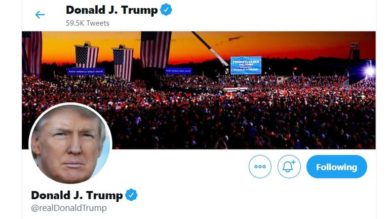 Twitter has locked Mr Trump's account for 12 hours