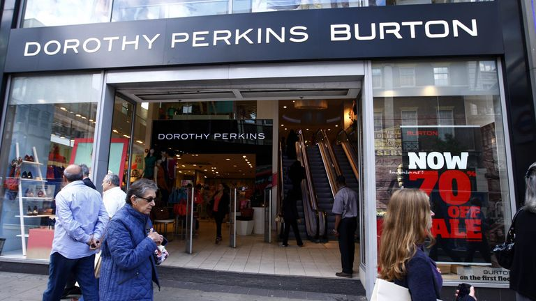 File photo dated 22/07/11 of Dorothy Perkins Burton shop in London's Oxford Street.