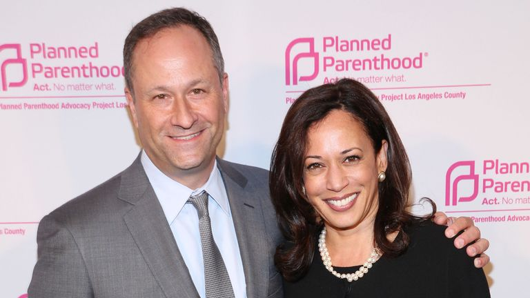 Doug Emhoff and Kamala Harris pictured in October 2014, soon after their wedding. Pic: AP