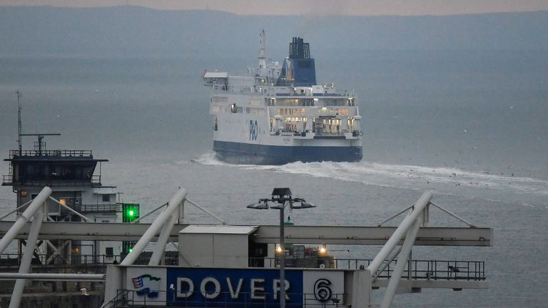 A cross channel ferry departs the Port of Dover heading for France, at dawn on the first day following the end of the Brexit transition period, Dover, Britain, January 1, 2021. REUTERS/Toby Melville