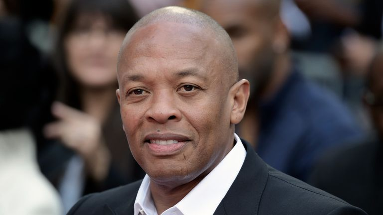 FILE - Dr. Dre attends a hand and footprint ceremony honoring Quincy Jones on Nov. 27, 2018, in Los Angeles. (Photo by Richard Shotwell/Invision/AP, File)