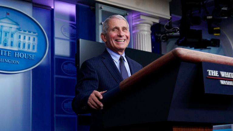 AP PIC: Dr. Anthony Fauci, director of the National Institute of Allergy and Infectious Diseases, laughs while speaking in the James Brady Press Briefing Room at the White House, Thursday, Jan. 21, 2021, in Washington. (AP Photo/Alex Brandon)