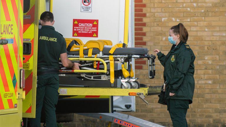 Ambulances outside Southend University hospital in Essex
