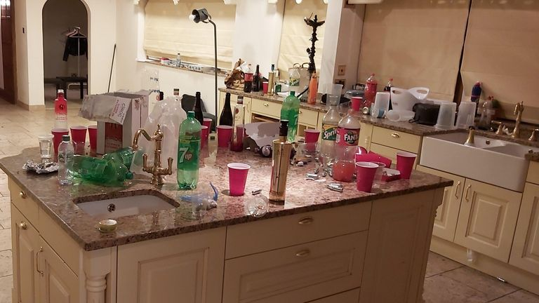 The aftermath of an illegal house party in Essex where 18 people were caught and fined nearly £15,000