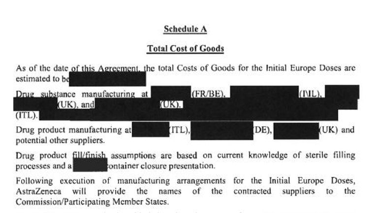 A heavily redacted part of the contract called 'Schedule A' makes reference to 'substance manufacturing' and 'product manufacturing'