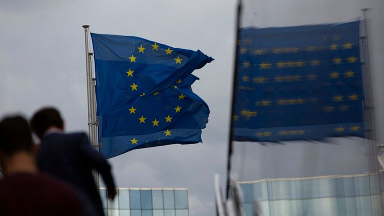 European Union flags. Pic: AP