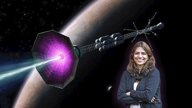 PPPL physicist Fatima Ebrahimi in front of an artist's conception of a fusion rocket. Credit: Elle Starkman (PPPL Office of Communications) and ITER