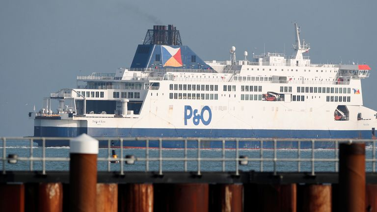 A P&O ferry leaves the Port of Dover following the end of the Brexit transition period, Dover, Britain, January 1, 2021. REUTERS/Peter Cziborra