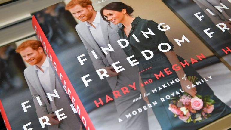 Copies of 'Finding Freedom', an unofficial biography on Prince Harry and Meghan Markle, the Duke and Duchess of Sussex, are seen on display at a Waterstones bookshop in London, Britain August 12, 2020