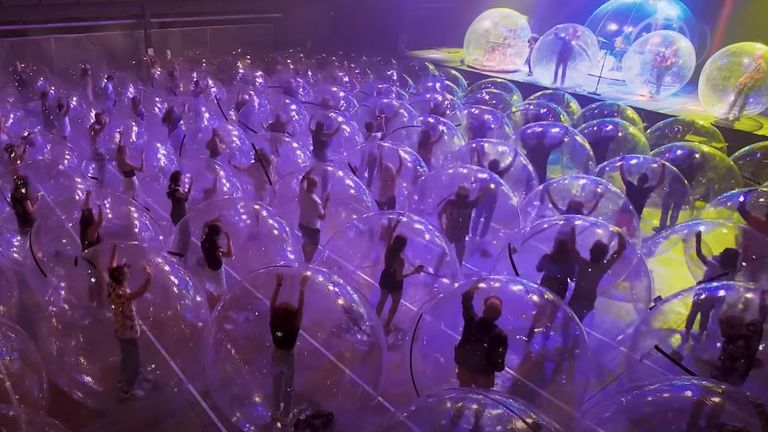 The Flaming Lips pulled off a socially distanced gig in bubbles - this was from a practice gig in October 2020. Pic: The Flaming Lips/YouTube
