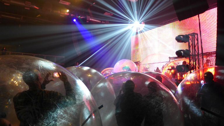 """Flaming Lips give a socially-distanced """"Space Bubble"""" concert at the Criterion in Oklahoma City. Pic: Flaming Lips/Warner Music/Reuters"""