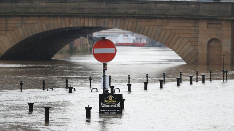 Flooding has hit many parts of the North, such as here in York
