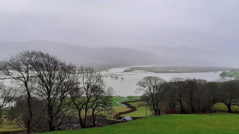 Dyfi Estuary spilling into the fields. Pic: Twitter/ @Goleudy