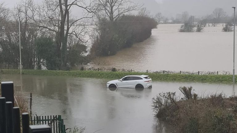 Machynlleth, Wales. Car stuck in floodwater. Pic: Twitter/ @marcwales15