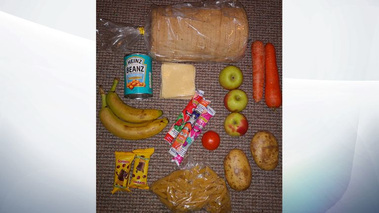 The mother tweeted this photo of her children's food parcel. Pic: @RoadsideMum