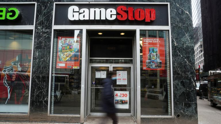 FILE PHOTO: A GameStop store is pictured amid the coronavirus disease (COVID-19) pandemic in the Manhattan borough of New York City, New York, U.S., January 27, 2021. REUTERS/Carlo Allegri/File Photo