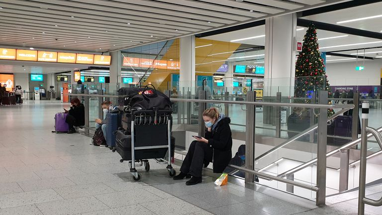 Passengers at Gatwick Airport last month