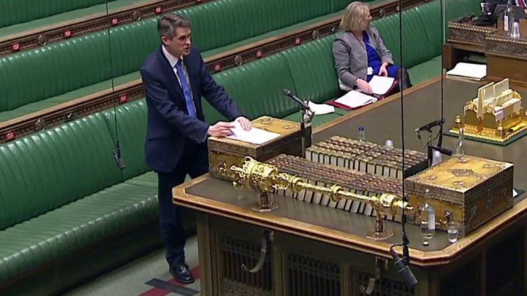 Education Secretary Gavin Williamson addresses the House of Commons.