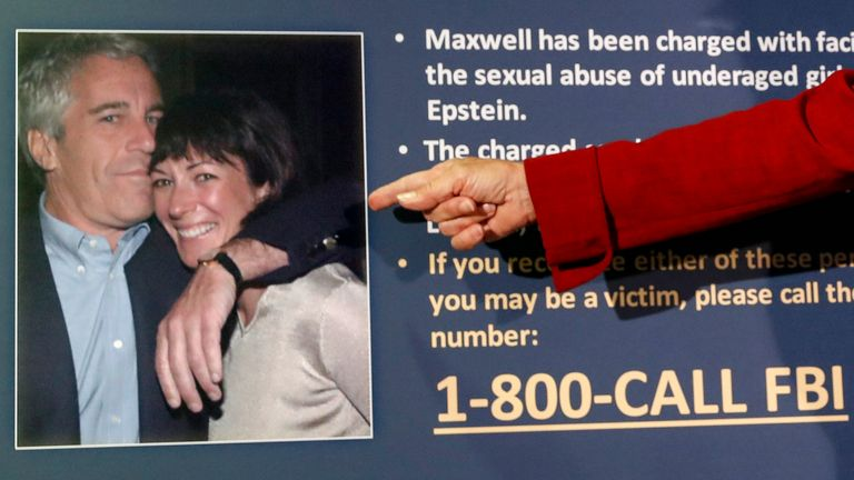 FILE - In this July 2, 2020, file photo, Audrey Strauss, acting United States Attorney for the Southern District of New York, points to a photo of Jeffrey Epstein and Ghislaine Maxwell during a news conference in New York. On Tuesday, Nov. 24, 2020, one of Maxwell...s attorneys said that her client is awakened every 15 minutes in jail while she sleeps to ensure she's breathing. (AP Photo/John Minchillo, File)