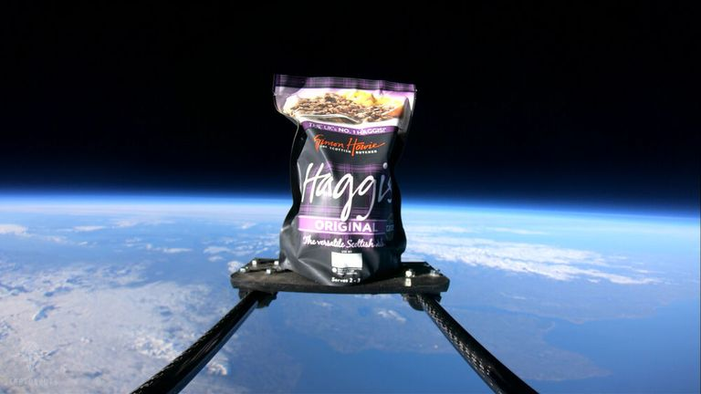 For the first time ever, a packet of haggis has been launched more than 20 miles above the earth. Pic: Stratonauts/Simon Howie