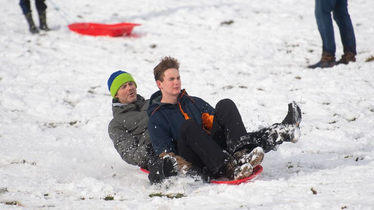 People sledging in in Hagley, Worcestershire
