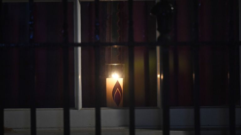 A candle was lit in a window in 10 Downing Street