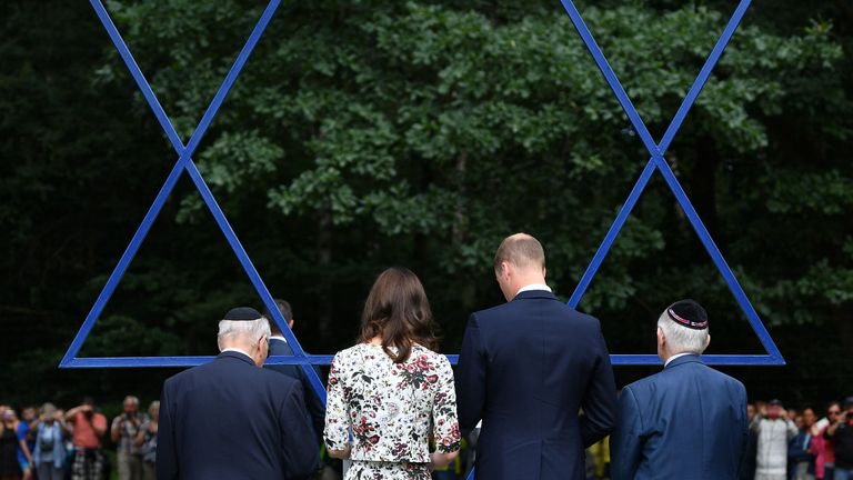 The Duke and Duchess of Cambridge visit the former Nazi concentration camp at Stutthof, near Gdansk, on the second day of their three-day tour of Poland.
