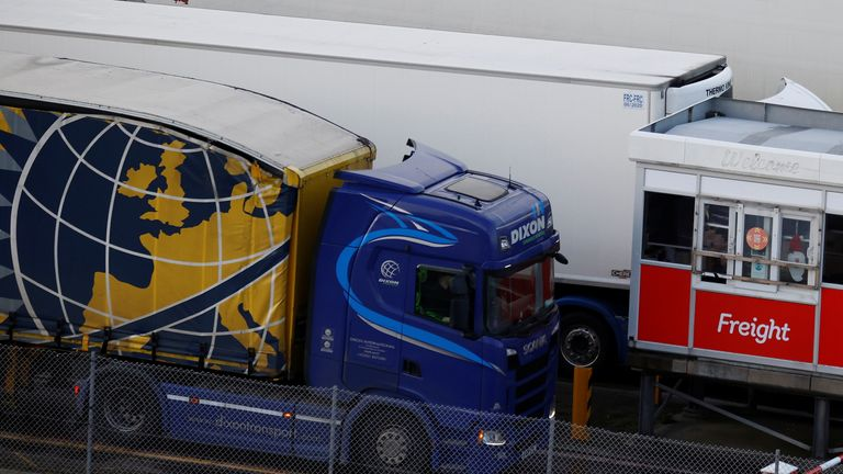 A lorry goes through the freight check in lane as it arrives at the port of Holyhead on the island of Anglesey, Britain, December 14, 2020. REUTERS/Phil Noble