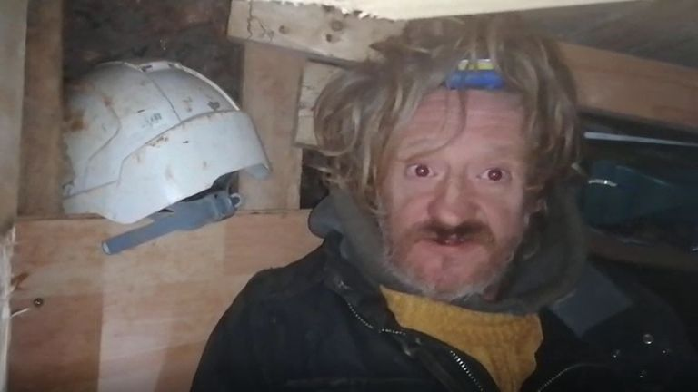 Undated handout video grab issued by HS2 Rebellion of a protester known as 'Digger Down' in part of a 100ft tunnel network dug in secret under Euston Square Gardens in central London, which they claim is at risk from the HS2 line development. Issue date: Tuesday January 26, 2021.