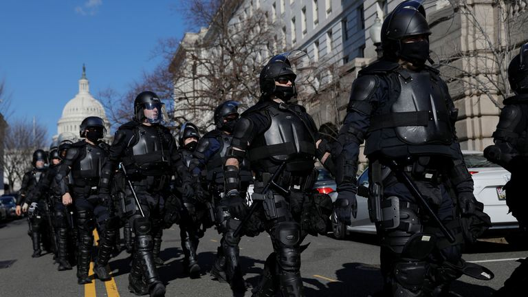 Capitol police were seen in riot gear ahead of the big day